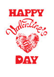 Red grunge heart with calligraphic text Happy Valentine`s Day, i Royalty Free Stock Images