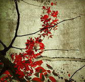 Red grunge kerala blossom art print Royalty Free Stock Images