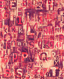 Red grunge newspaper, magazine collage letters Royalty Free Stock Images