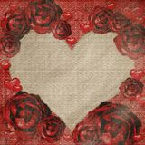 Red grunge roses frame Royalty Free Stock Images