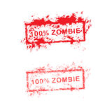 Red grunge rubber stamp 100% zombie used for halloween vector il Royalty Free Stock Photos