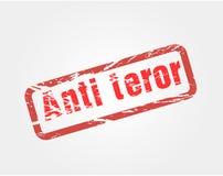 Red grunge signet calling against terrorism Stock Image