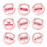 Red  grunge stamp, American Cities. Denver, Miami, Boston, Stock Images