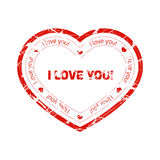 Red grunge stamp in the shape of heart with declaration of love with lines and splashes. Royalty Free Stock Photo