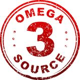 Red grunge style rubber stamp Omega 3 source. Red grunge style rubber stamp Omega 3 source Royalty Free Stock Photos