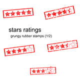 Red grungy rubber stamp five stars ratings Stock Images
