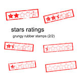 Red grungy rubber stamp five stars ratings Royalty Free Stock Photography