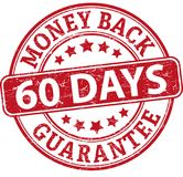 60 days money back guarantee round textured rubber stamp. Red grungy rubber stamp on white background Royalty Free Stock Photography