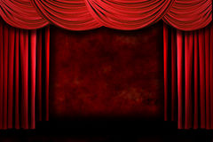 Red Grungy Stage Theater Drapes With Dramatic Ligh royalty free illustration