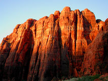 Red Guardian Faces. Snow Canyon Stock Image