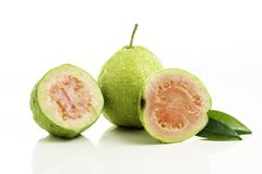 Red guava cut on white background.  royalty free stock images