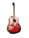 Red guitar. Red acoustic guitar with reflections on it Royalty Free Stock Photo