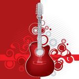 Red guitar. Illustration of red guitar on red and white background Stock Photography