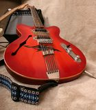 Red guitar Stock Images