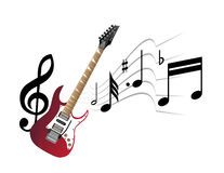Red guitar and abstract music. On the white background Stock Photos
