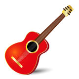 Red guitar. Acoustic classical guitar in red color with gold details Vector Illustration