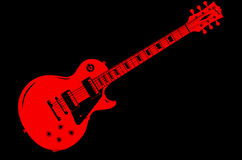Red Guitar On Black. A classic red electric solid body guitar isolated on a black background Royalty Free Stock Photos