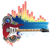 Red guitar, blue banner and music. Red guitar, blue banner, speakers and music Royalty Free Stock Photography