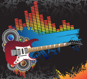 Red guitar, blue banner and music royalty free illustration