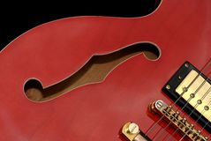 Red Guitar close up Royalty Free Stock Photography