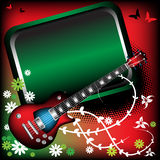 Red guitar and green frame. Abstract colorful background with green frame, red electric guitar, butterfly shapes and various flowers Royalty Free Stock Photos