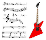 Red guitar and music Royalty Free Stock Images