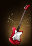 A red guitar with musical notes Royalty Free Stock Image