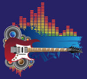 Red guitar, speakers and blue banner Stock Image