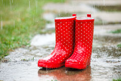 Red gumboots in rain. Full of water Stock Photo