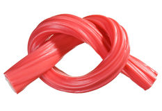 Red gummy candy (licorice) rope Stock Photos