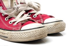 Red gym shoes. royalty free stock photography