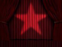 Red hänger upp gardiner stjärnan Arkivbild