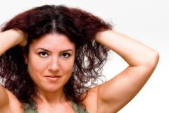 Red Hair. Attractive woman with red hair on white background Royalty Free Stock Photography