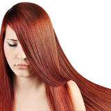 Red Hair. Beautiful Woman with Straight Long Hair over white Stock Photos