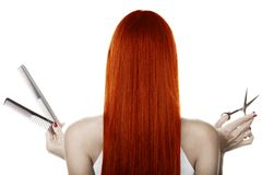 Red Hair. And hairdresser's tools