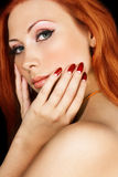 Red Hair. Woman with red hair and green eyes Royalty Free Stock Photography