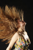 Red hair in air stock image