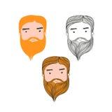 Red Hair Bearded Man Head Avatar Set. Red Hair Beard Man Head Avatar Set on white background Stock Photo