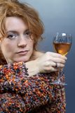 Red hair beauty and wine Stock Photos