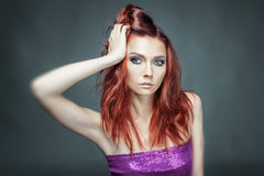 Red hair beauty woman portrait. Fashion model Stock Photography