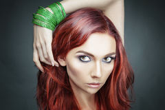 Red hair beauty woman portrait. Fashion model Stock Photo
