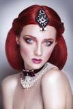 Red hair beauty woman portrait Stock Photos
