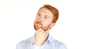 Red Hair business man thinking, white background Royalty Free Stock Photos