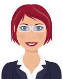 Red Hair Business Woman with Glasses Stock Photo