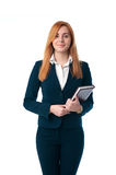 Red hair business woman holding a notebook in hands Royalty Free Stock Photo