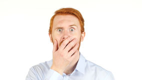 Red Hair Businessman clueless, amazed, shocked, white background. High quality Royalty Free Stock Photo