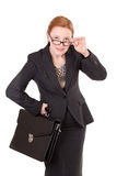 Red hair businesswoman in glasses on white Stock Photography