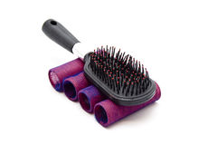 Red Hair Curler with Hairbrush Stock Image