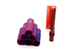Red Hair Curler with Plastic Hairbrush Stock Photos