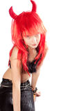 Red hair devil girl Stock Photo